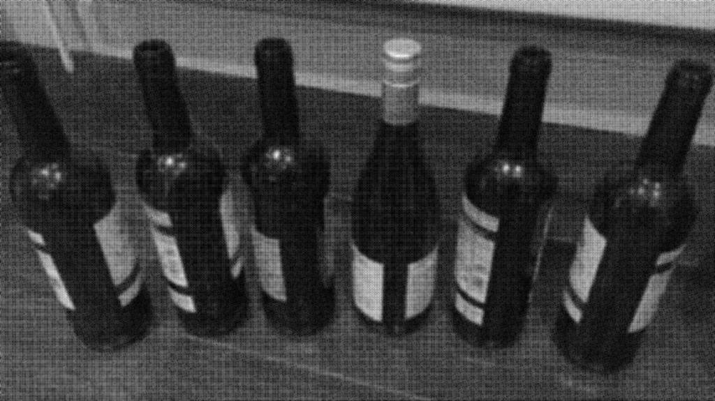 Wine bottles lined up