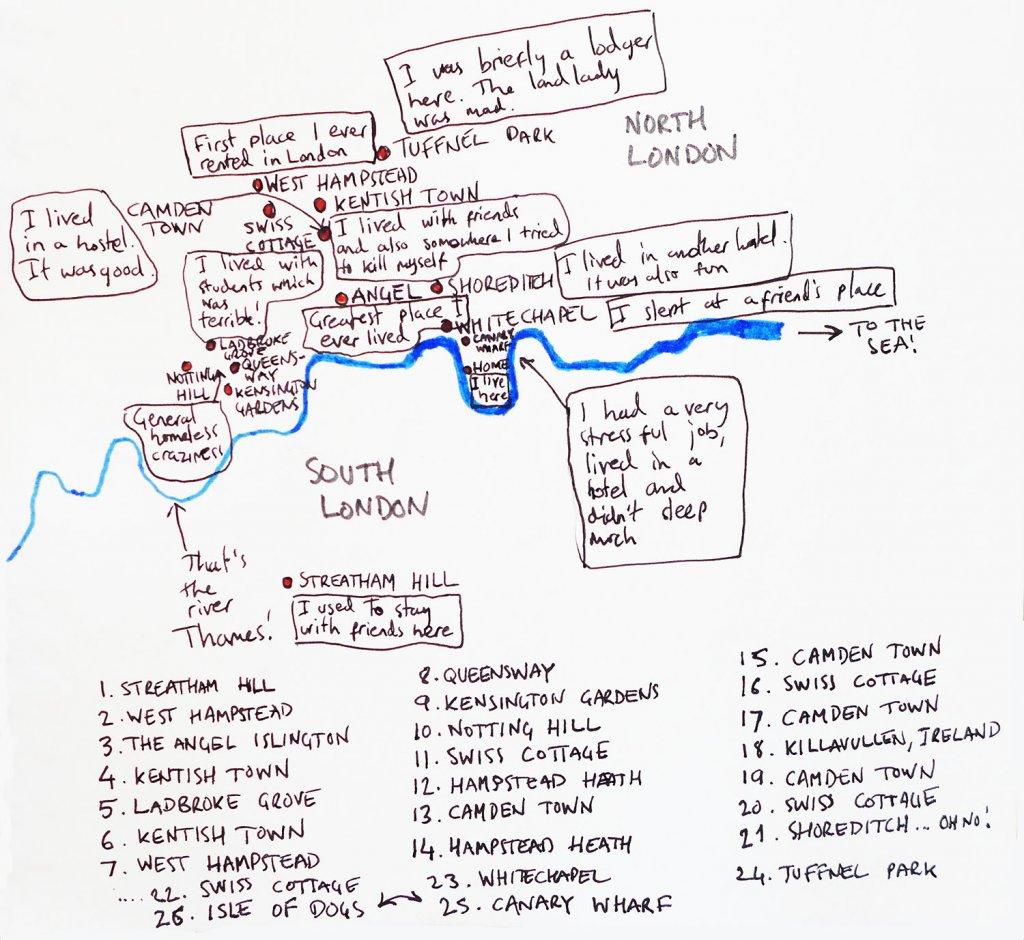 Homeless in London map