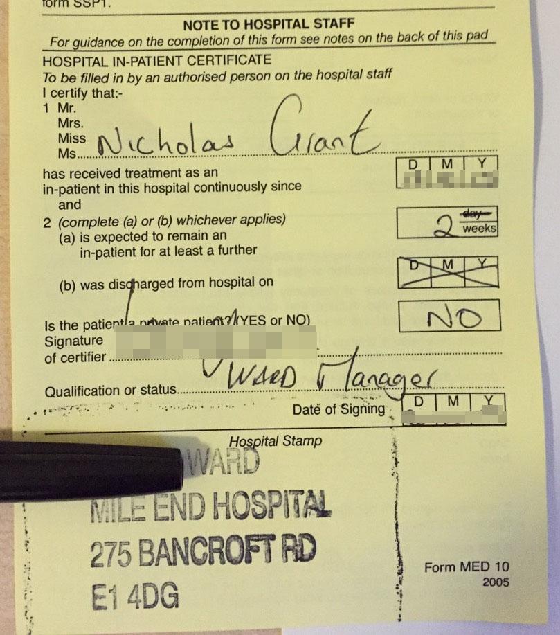 Hospital Note