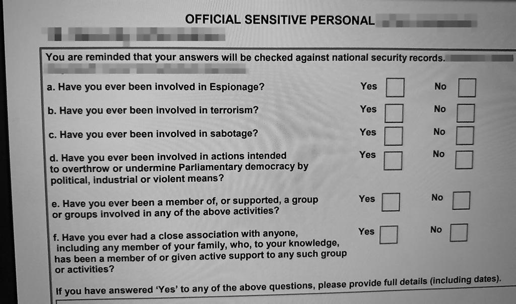 Security vetting form