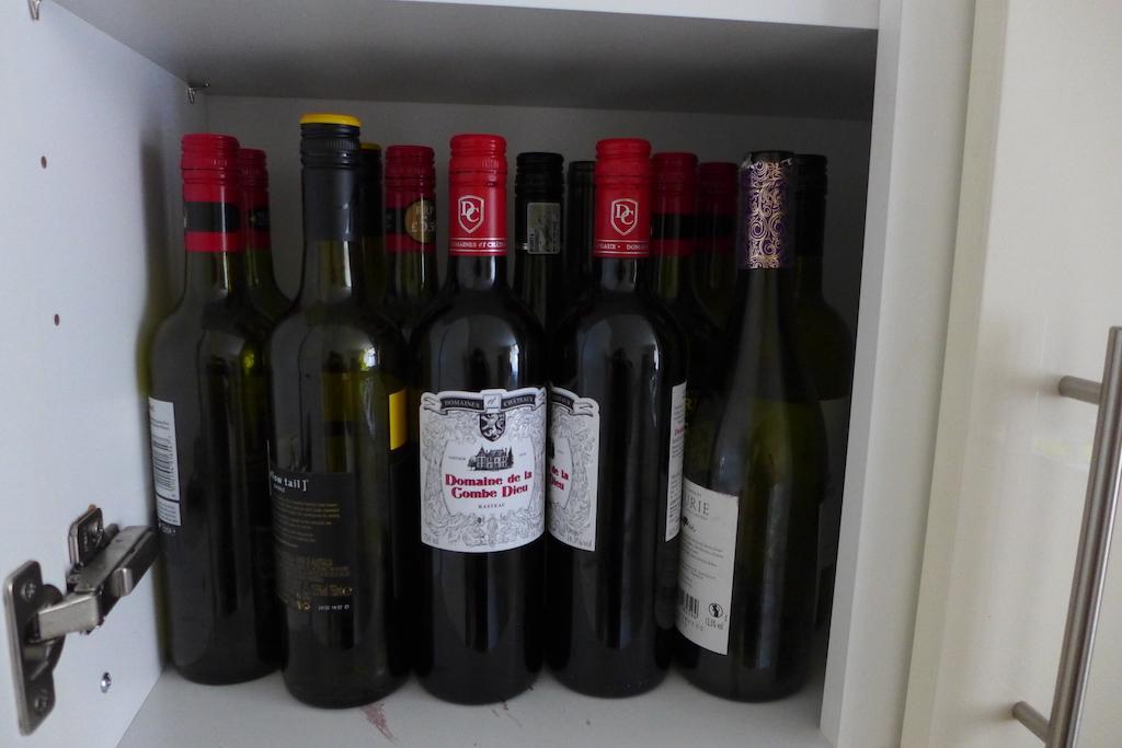 Wine bottles in the cupboard