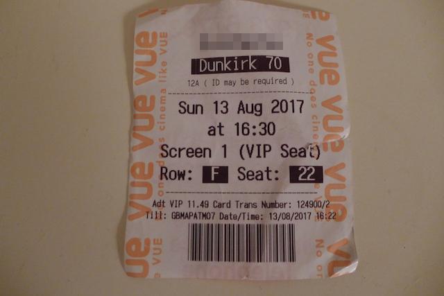Dunkirk IMAX ticket stub