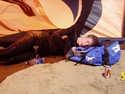 Sleeping under a kite